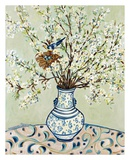 Blue and White Vase with Bird Art by Suzanne Etienne