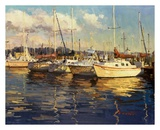 Boats On Glassy Harbor Poster by  Furtesen