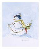 Snowman Two Prints by Peggy Abrams