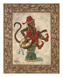 Monkey with Mandolin Poster by Janet Kruskamp