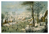A Winter Landscape with Skaters and a Bird Trap Lámina por Peter Bruegel The Younger