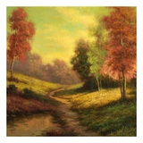 Forest Path at Sundown Poster van Pierre