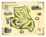 Golf Course Map, Augusta Poster by Bernard Willington
