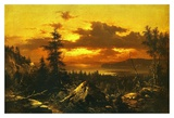 Sunset Glow Prints by Albert Bierstadt