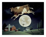 Vaca que salta por encima de la luna Psters por Lowell Herrero
