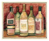 Wine Bottle on Red Prints by Susan Winget