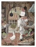 Chef de cuisine avec une oie Affiches par Betty Whiteaker