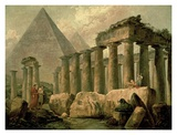 Pyramid and Temples Affiches par Hubert Robert