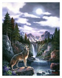 Loup dans la lune Posters par Alma Lee