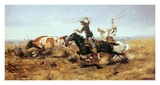 O. H. Cowboys Roping a Steer Poster von Charles Marion Russell