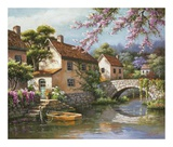 Sung Kim - Country Village Canal Obrazy