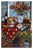 Blue and White with Tangerine Tree Posters par Suzanne Etienne