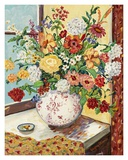 Flowers in Red and White Vase Affiches par Suzanne Etienne