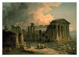 Ruins of a Doric Temple Print by Hubert Robert