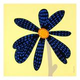 Wow Flower Black and Blue Kunst af Monica Kuchta