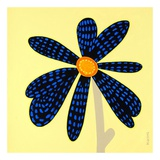 Wow Flower Black and Blue Art by Monica Kuchta