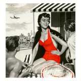 "Red Hot Woman  - Saturday Evening Post ""Leading Ladies"", May 22, 1954 pg.83 Giclée-Druck von Artist Unkown"