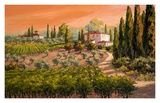 Coral Skies Over Tuscany Prints by Erin Dertner