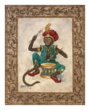 Monkey with Drum Print by Janet Kruskamp