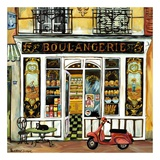 Boulangerie and Red Scooter Art by Suzanne Etienne