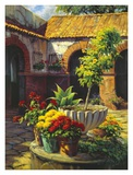 Las Flores En El Patio Print by J. Chris Morel
