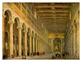 Interior of the Church of San Paolo Fuori Le Mura, Posters par Giovanni Paolo Pannini