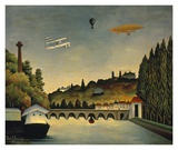 View of the Bridge at Sevres and the Hills at Clam Prints by Claude Rousseau