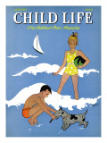 A Day at the Beach - Child Life, August 1939 Giclee Print by Harold Carroll