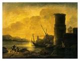 Bay at Sunset, 1549 Plakater af Salvator Rosa