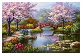 Japanese Garden in Bloom Art by Sung Kim