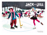 Skating Fun - Jack and Jill, February 1945 Giclee Print by Beth Henninger