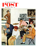 """Jammin with Dad"" Saturday Evening Post Cover, December 1, 1956 Giclee Print by John Falter"