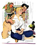 "The Lady and the Lion  - Saturday Evening Post ""Leading Ladies"", August 7, 1954 pg.20 Giclee Print by Perry Peterson"