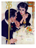 "Shock Treatment  - Saturday Evening Post ""Leading Ladies"", April 12, 1958 pg.26 Giclee Print by Joe de Mers"
