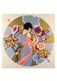 Art Deco Female in a Circle Posters
