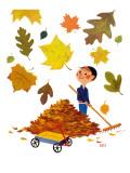Raking Leaves - Jack and Jill, November 1957 Giclee Print by  RVS