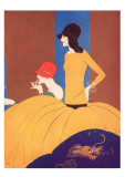 Art Deco Two Women Doing Make Up. Giclee Print