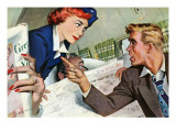 "The Passenger Hated Redheads  - Saturday Evening Post ""Leading Ladies"", August 13, 1949 pg.24 Giclée-Druck von Joe deMers"