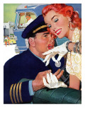 The Pilot Hated Stewardesses - Saturday Evening Post &quot;Leading Ladies&quot;, May 15, 1954 pg.36 Giclee Print by Robert Meyers
