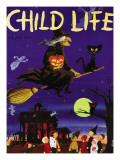 Witches Flight - Child Life, October 1953 Lámina giclée