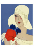 Art Deco Lady with a Large Red Flower Giclee Print