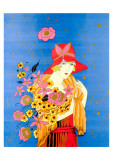 Art Deco Lady with Flowers Posters