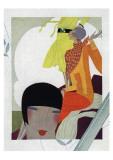 Art Deco Ladies Talking Giclee Print