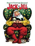Sleeping Santa and Kitten - Jack and Jill, December 1979 Giclee Print by B. B. Sams