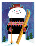Smiley Snowman - Jack and Jill, January 1957 Giclee Print by Jack Weaver