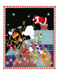 Santa  dropping toys - Child Life, December 1934 Giclee Print by Marie Lawson