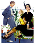 "Two Girls At Once - Saturday Evening Post ""Men at the Top"", November 8, 1952 pg.39 Giclee Print by Perry Peterson"