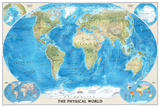 National Geographic World Physical Map Plakater