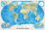 National Geographic World Physical Map Plakaty