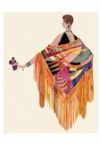Art deco -nainen värikkäässä mekossa Giclee-vedos